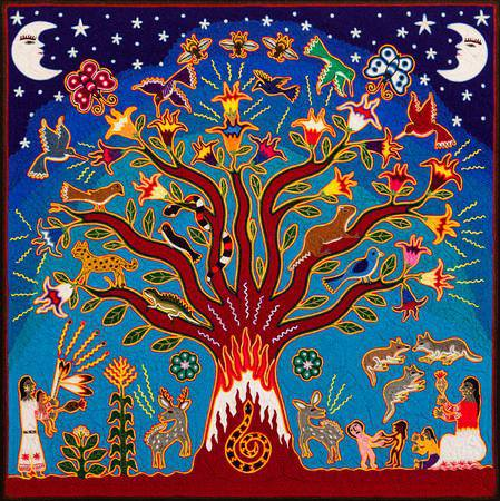"""Tree of Life and Wisdom"" yarn painting by Mariano Navarro Valadez"